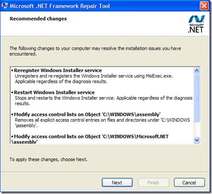 Microsoft. NET Framework Repair Tool
