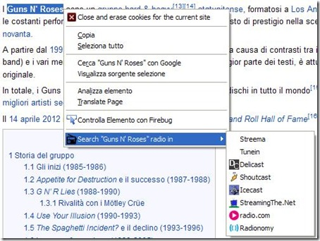 Radio Search addon Firefox