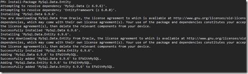 mysql-entity-framework-nuget-package