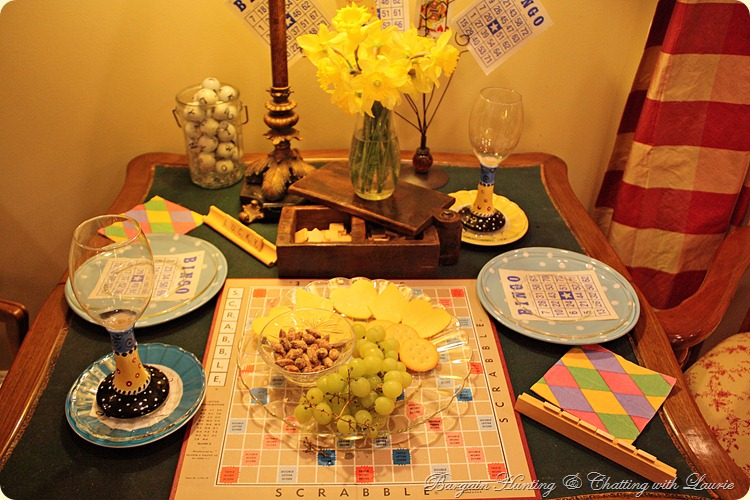 Game Night Tablescape-Bargain Hunting & Chatting with Laurie