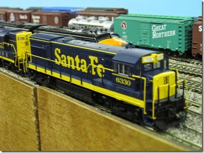 IMG_5378 Atchison, Topeka & Santa Fe U30B #6330 on the LK&R HO-Scale Layout at the WGH Show in Portland, OR on February 17, 2007
