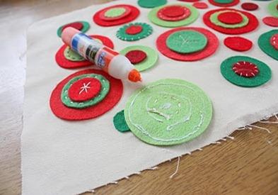 glue felt circles for throw pillow
