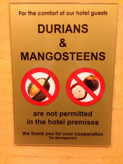 IMG 4044Durians are banned in most hotels and taxis because of the smell (and that is before the fruit is cut open