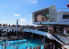 Large TV On Lido Deck for Movies at Night