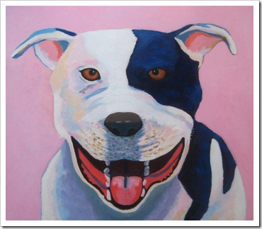 always smiling dog painting