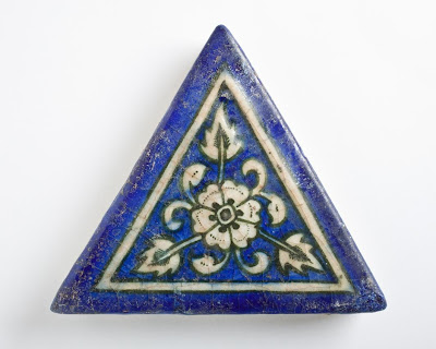 Tile | Origin: Iran, Tabriz | Period:  1465/870 A.H. | Collection: The Madina Collection of Islamic Art, gift of Camilla Chandler Frost (M.2002.1.304) | Type: Ceramic; Architectural element, Fritware, molded and underglaze-painted, 5 1/4 x 5 3/4 in. (13.33 x 14.60 cm)