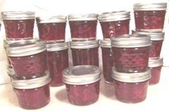 cran lemon pear jam jars filled