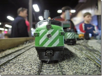 IMG_5442 Burlington Northern F7A #730 on the LK&R HO-Scale Layout at the WGH Show in Portland, OR on February 17, 2007