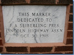 3807 Ohio - Oceola, OH - Lincoln Highway (County Road 330) - brick pillar dedicated to Seiberling
