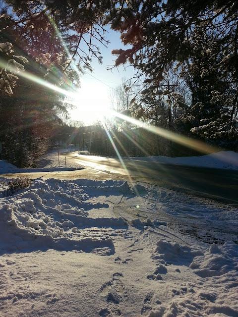 Brilliant sunshine on a snowy morning