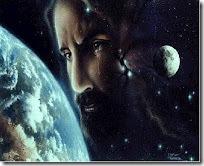 Jesus olhando a terra do universo