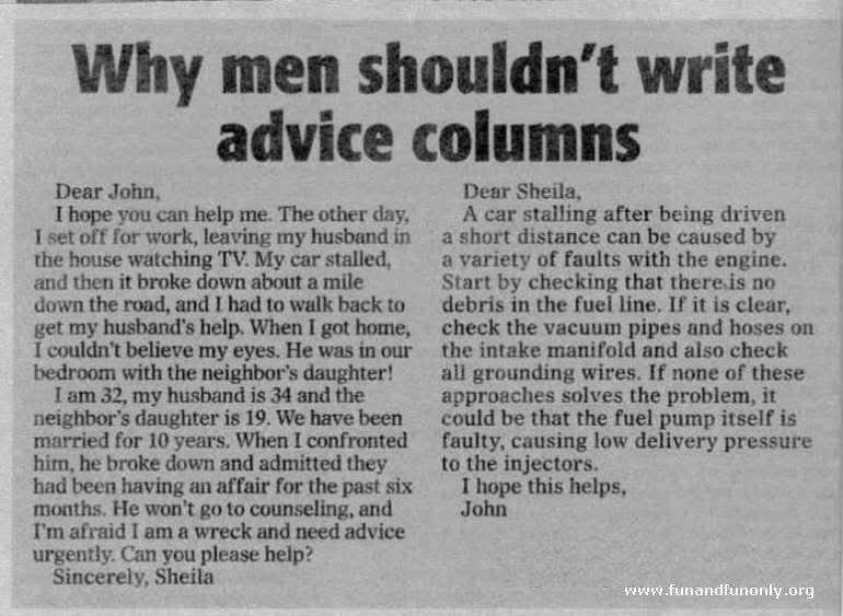 Why men shouldn't write advice columns......