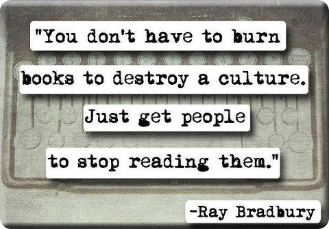 You dont have to burn books to destroy a culture. Just get people to stop reading them. Ray Bradbury