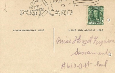 Ben Wilson and J H Ferguson Postcard back to Hazel