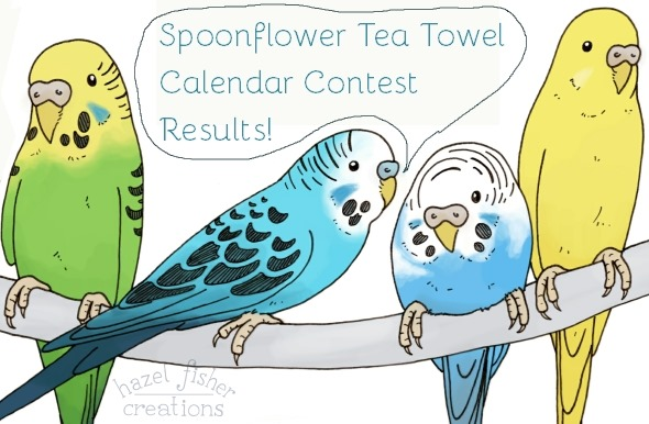 2014 November 10 spoonflower contest teatowel calendar contest results budgie illustration hazel fisher creations 1