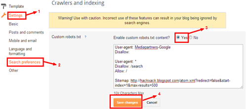 edit robots.txt file in blogger blogs