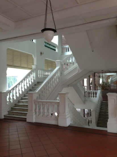 The staircase in the Raffles Hotel - there is something Escher about them - or maybe that was the sling talking in the heat of the day