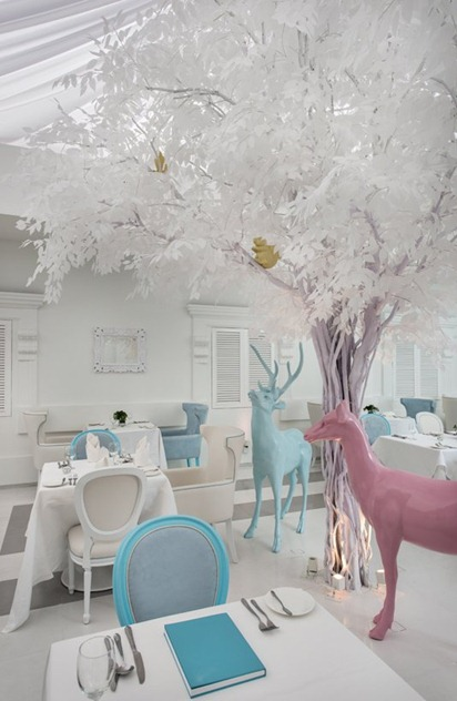 interior design dining room hotel white whimsical