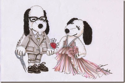 Peanuts X Metlife - Snoopy and Belle in Fashion by J. Mendel