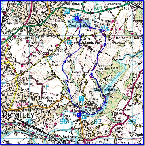 Werneth Low route - 8 km, 300m ascent, up to 2.5 hours