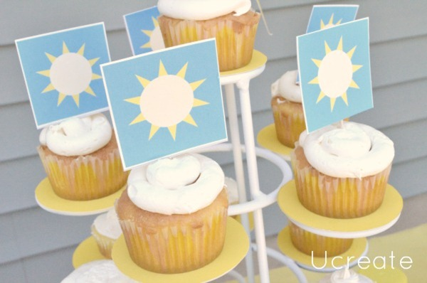 Lemon Cupcakes with Free Cupcake Topper Printable