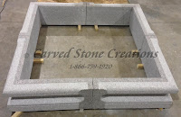 5' Square Fountain Surround H12, Wild Rose Granite