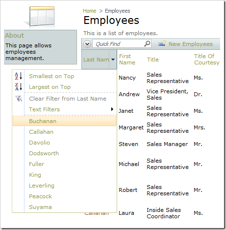 Multiple Value Filter option under Last Name column dropdown is not available.