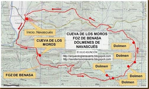 Mapa Cueva de los Moros - Foz de Benasa - Dólmenes de Navascués