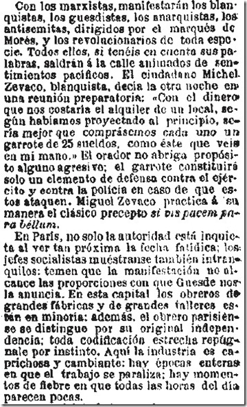 1890-04-28 - El Liberal - 01 (Críticas al 1º de Mayo - 1)