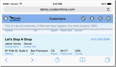 Web app created with Code On Time displayed in Safari web browser on iPhone 5 with landscape orientation.