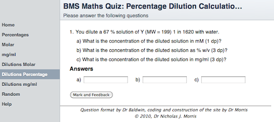Percentage dilutions