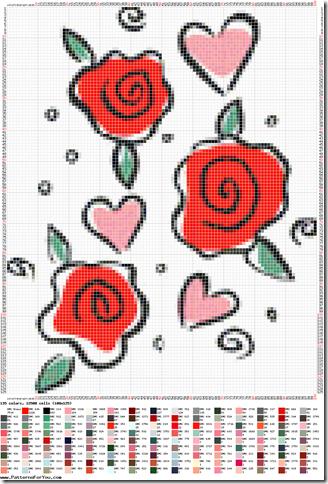 Ponto cruz graficos de rosas  1