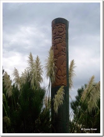 Totem pole at Opoutama.