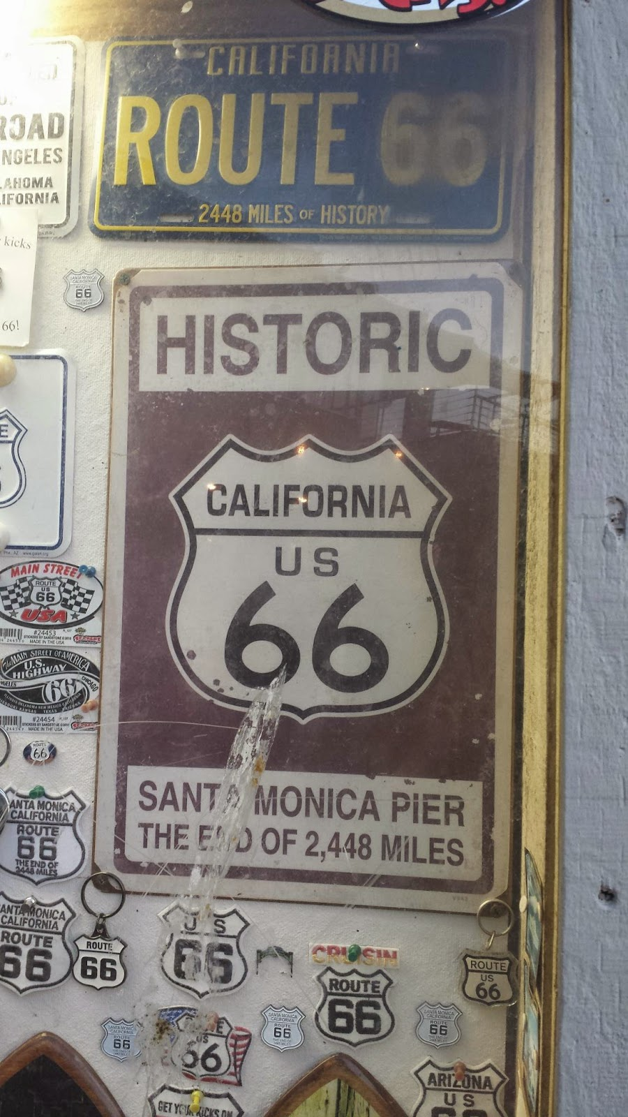 Historic US ROUTE  Map And Original Santa Monica Pier Sign As - Map of us 66