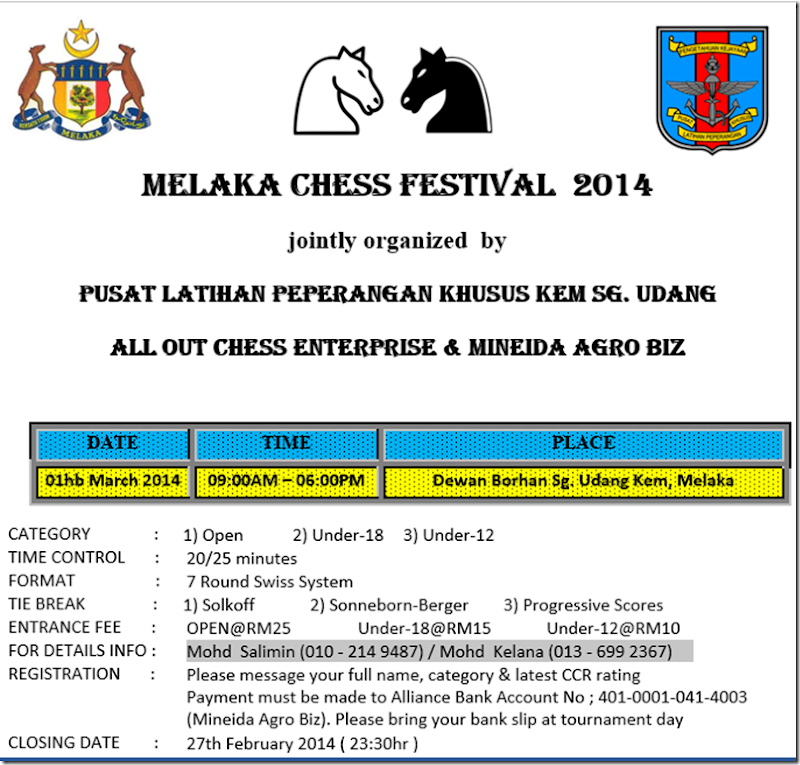Melaka Chess Festival 2014 - 1st part - 1st March 2014
