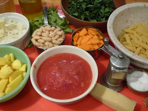 Ingredients for Minestrone Pasta.