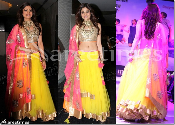 Shamita_Shetty_Yellow_Lehenga