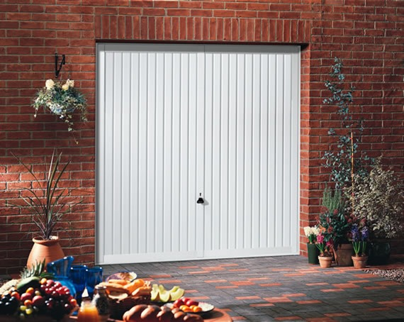 Garador steel Sutton garage door in Traffic White