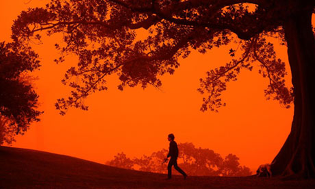 Red dust blown in from Australia's parched interior blankets Sydney in 2009. Australia and its region are experiencing the hottest 60 years in a millennium, scientists have determined. Greg Wood / AFP / Getty