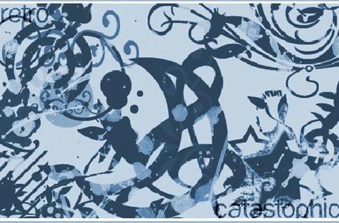 Pinceles retro con siluetas abstractas