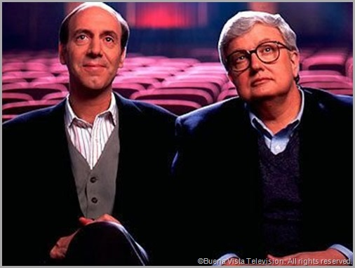 Gene Siskel (L) and Roger Ebert in the place they loved most: at the movies. CLICK to read the tribute to Roger Ebert from the Chicago Tribune.