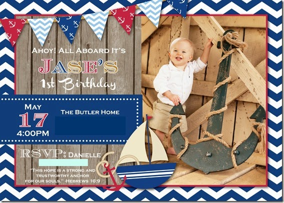 butler, party of  jase's nautical st birthday party, Birthday invitations