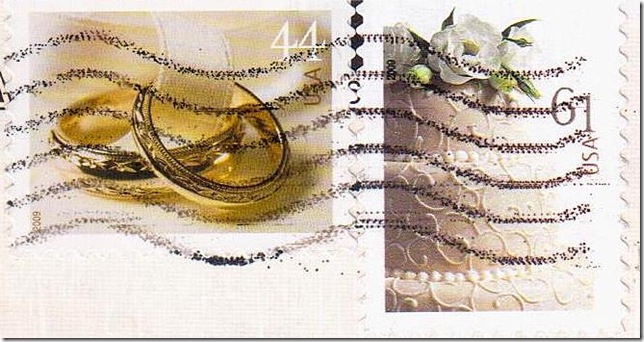 Wedding ring and cake on US stamps