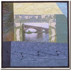 The Old Bridge, art quilt by Sue Reno