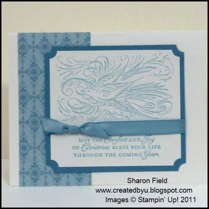 The_Sounding_Joy, Sharon_Field, Brushed_Gold,Quilted_Satin_Ribbon, CAS, 5_minute_Cards, Christ_The_King, camp, Holiday Mini Catalog, Lovely_As_A_Tree, Petite_Pairs, Bright_Hopes, Rhinestones, Frostwood_Lodge, Dasher, Gods_Blessings, Comfort and Joy, Marina_mist