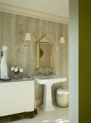 Image of interior designer Benjamin Dhong's faux-bois bathroom, via apartmenttherapy.com