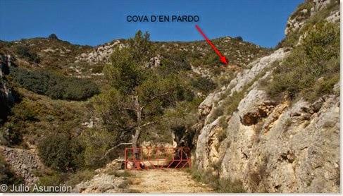 Localización de la Cova d´En Pardo en el barranco