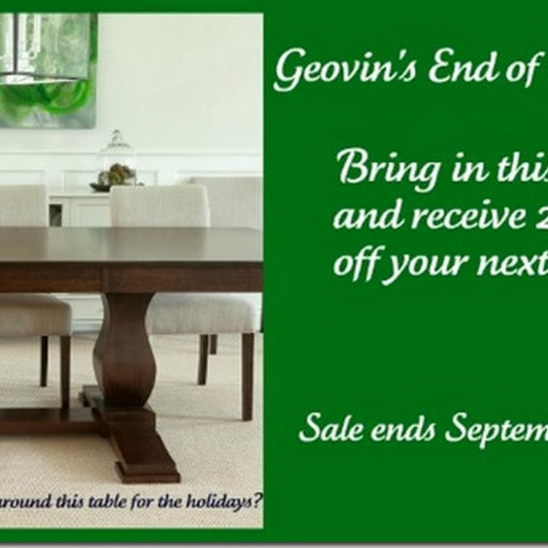 Sponsor News: Geovin's End of Summer Sale