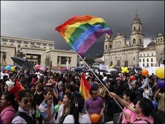 Colombia Ativistas protestam em frente ao Congresso