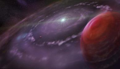 ilustração do sistema planetário HR 8799